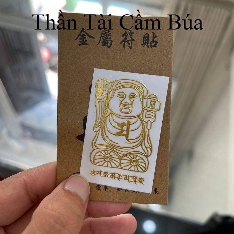 Miếng Dán Điện Thoại Tài Lộc Thần Tài, Quý Nhân Phù Trợ, Phong Thủy May Mắn, Đẹp Lung Linh