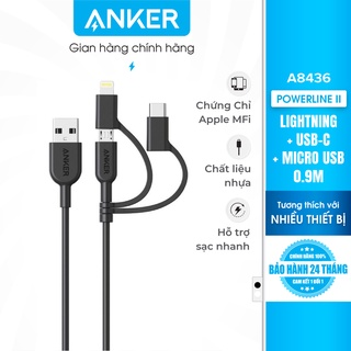 Cáp 3 in 1 ANKER Powerline II 0.9M - A8436 (Lightning - Type C - Micro USB) thumbnail