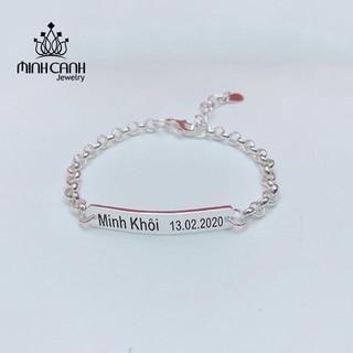 Lắc Bạc Ta Khắc Tên Theo Yêu Cầu Miễn Phí Cho Bé - Minh Canh Jewelry