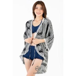 Áo Khoác Kimono Nữ LMcation Naomi - Đen Sóng Trắng thumbnail