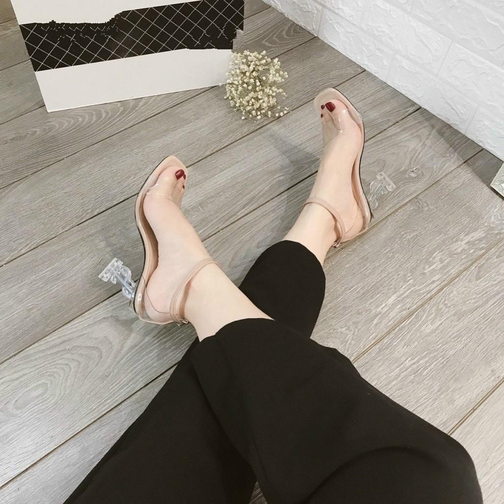 Giày Sandal cao gót 9p quai trong gót trong chữ S siêu đẹp