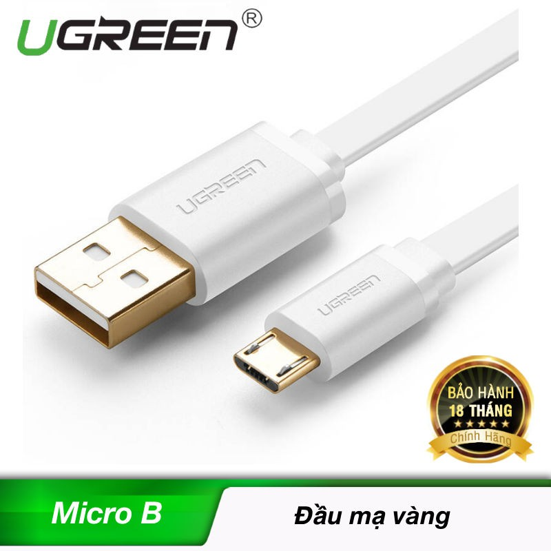 Dây cáp USB 2.0 to micro B dẹt Ugreen 10393 dài 0.5M (Trắng) - 10038376 , 224658865 , 322_224658865 , 70000 , Day-cap-USB-2.0-to-micro-B-det-Ugreen-10393-dai-0.5M-Trang-322_224658865 , shopee.vn , Dây cáp USB 2.0 to micro B dẹt Ugreen 10393 dài 0.5M (Trắng)