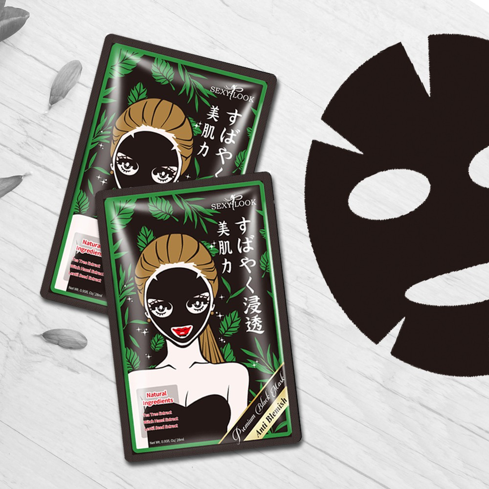 """Kết quả hình ảnh cho Mặt nạ đen tràm trà Sexy Look Tea Tree Anti Blemish Black Facial Mask"""""""