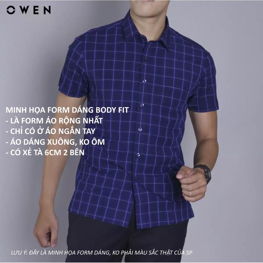 OWEN - Aó sơ mi ngắn tay nam Owen chất sợi tre màu xanh đen kẻ ca rô trắng 22657