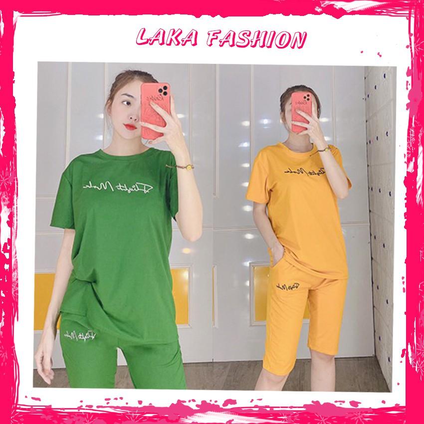 Mặc gì đẹp: Gọn tiện với Đồ bộ mặc nhà nữ mùa hè, chất liệu thun co giãn 4 chiều thoáng mát. quần lửng áo ngắn tay A036 - LAKA FASHION