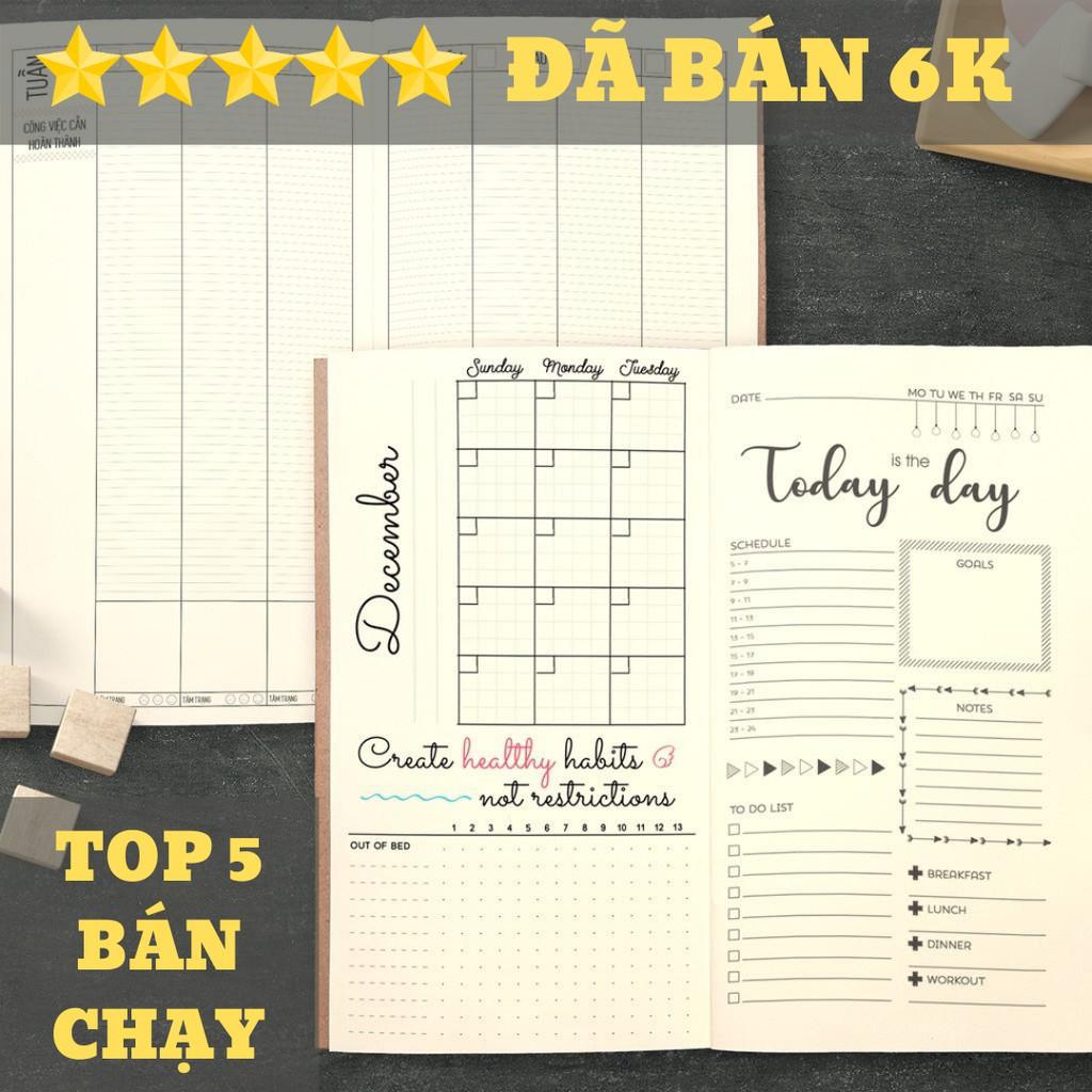"""[Có Video] Sổ tay planner MIX TỔNG HỢP Tháng + tuần + ngày """"Kế hoạch trọn đời"""", 21x11, 60 trang, dập ghim, bìa mềm"""