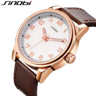 Đồng hồ đeo tay SINOBI dây đeo bằng da chống thấm nước thời trang thanh lịch cho nam
