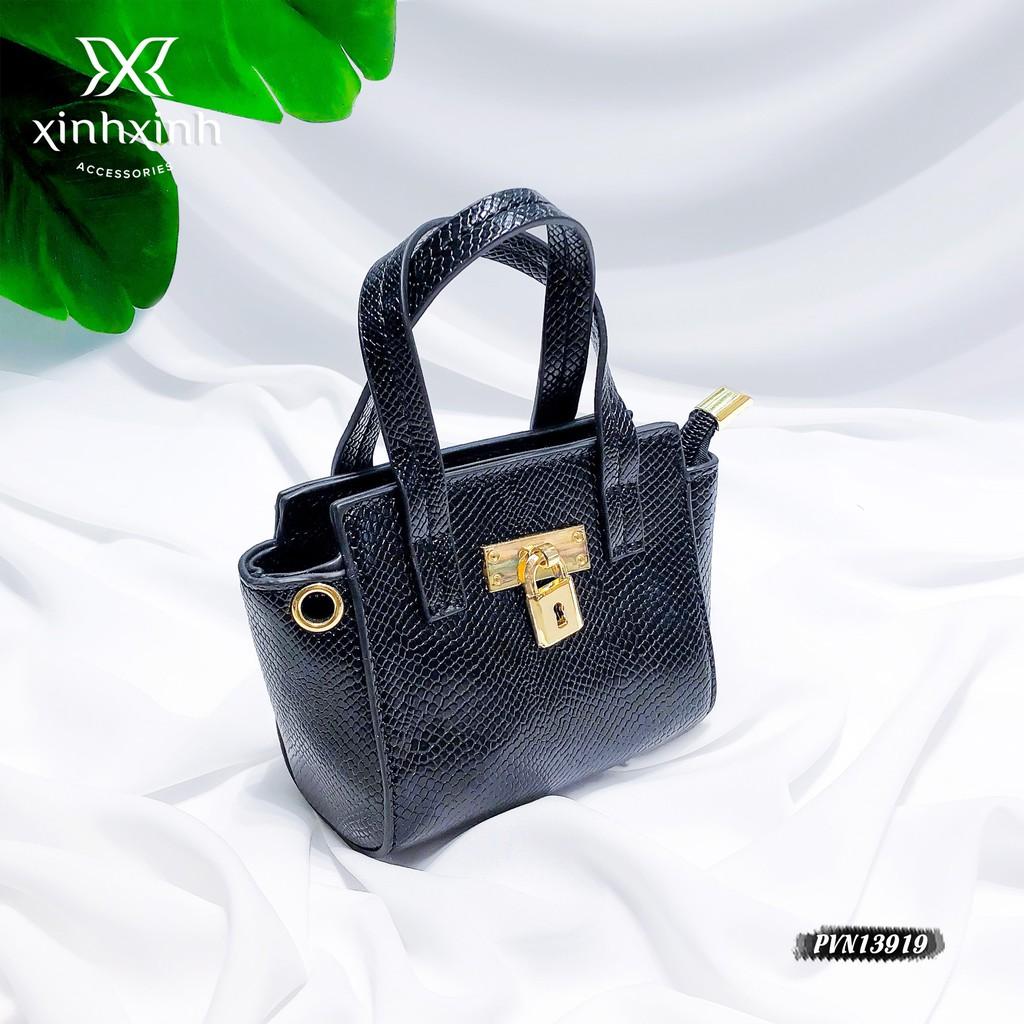 Túi xách cho bé mini da sần phối khóa - Xinh Xinh Accessories