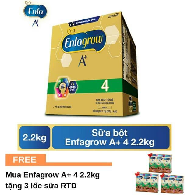 [Mã MKBC217 giảm 80K đơn 1tr] (tặng kèm 3 lốc sữa nước ) Sữa Bột Enfagrow A+ 4 (2.2kg)