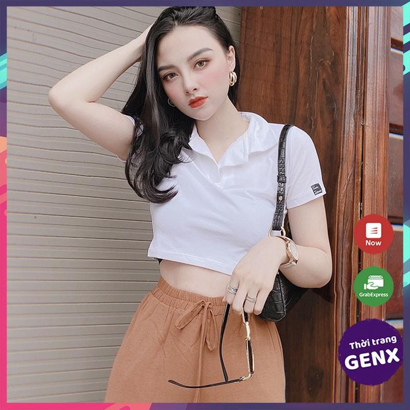 [Mã FAMAYWA giảm 10K đơn 50K] Áo croptop nữ tay ngắn, áo croptop kiểu sexy 100% cotton mềm mịn thoải mái GENX16