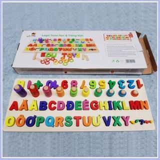 Đồ chơi Bảng ghép chữ cái và cột tính học đếm cho bé- Logic toán học và tiếng việt [Giá Sốc]