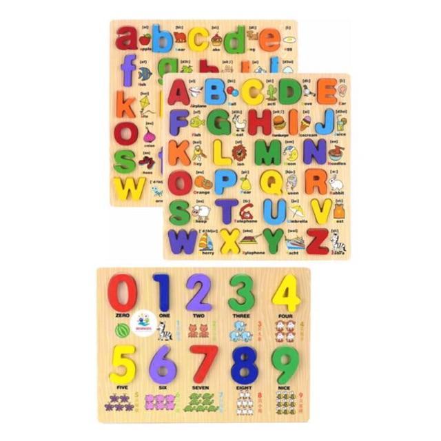 Bộ 3 bảng gỗ song ngữ chữ nổi