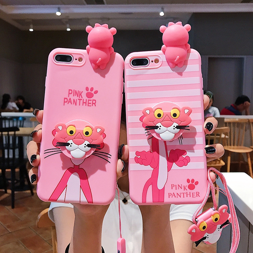 Case Vivo S1 Y17 Z5X V15 V11i Y91C Y91 Y93 Y95 Y55 Y71 Y81 Y83 V5 V7 V9 V5plus Pink Panther Case With Lanyard and Holder
