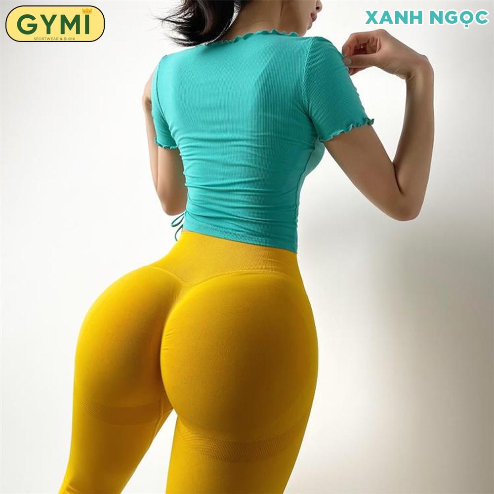 Mặc gì đẹp: Dẻo dai với Áo tập gym yoga nữ GYMI AC19 dáng croptop hãng Yimriz chất liệu thun gân co giãn ôm body tập thể thao rumba