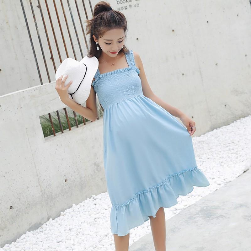 Đầm bầu , váy bầu ôm ngực thích hợp cho dạo phố du lịch mặc nhà