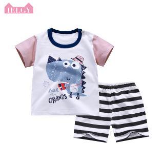 Bộ quần áo cotton tay ngắn in họa tiết hoạt hình thời trang cho bé
