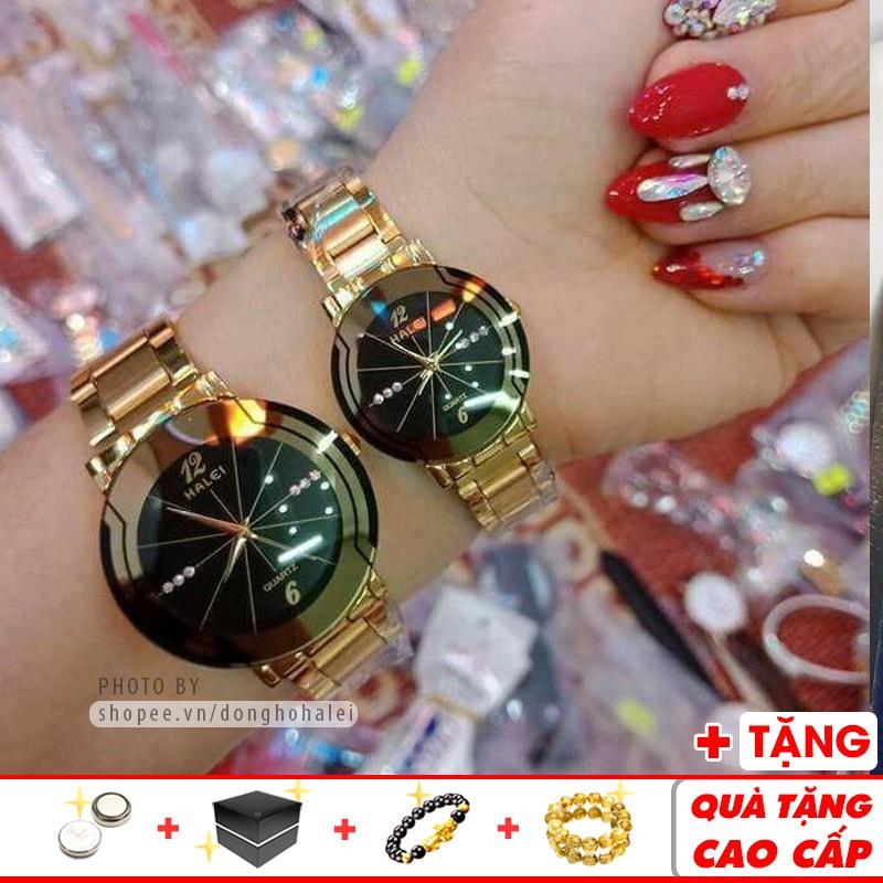 Đồng hồ cặp đôi Halei 668G Gold chống nước cao cấp chính hãng dây vàng sang trọng đẹp đôi -...