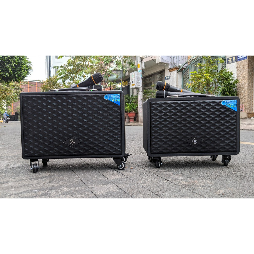 [HÀNG HOT] Loa kéo Haiyinlou HL530 chính hãng kèm 2 micro 4 treble 1 bass lớn âm thanh căng cực hát karaoke gia đình
