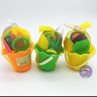 Bộ đồ chơi xô xúc cát đi biển nhỏ hình bông hoa túi lưới