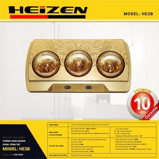 Đèn sưởi nhà tắm Heizen HE3B 3 bóng vàng - Không đốt cháy Oxy - Bảo hành 10 năm