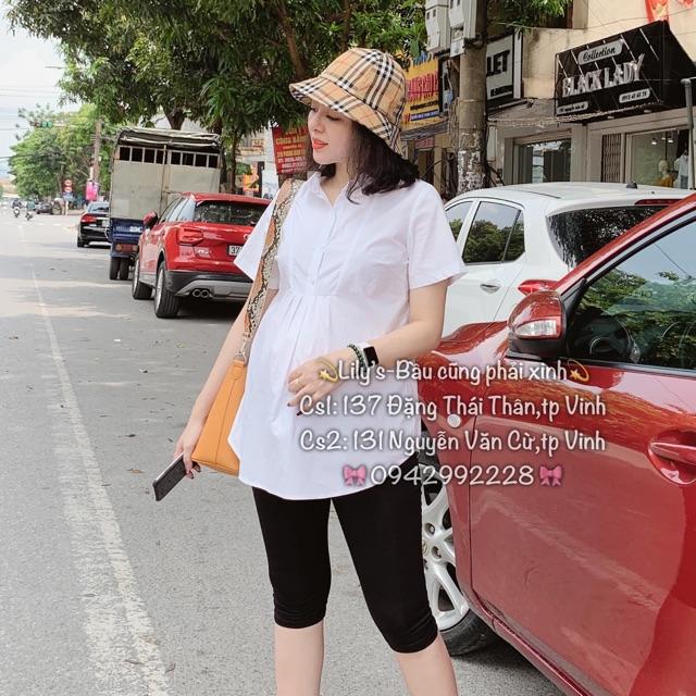 Áo bầu sơ mi trắng cộc đẹp M01( ảnh thật)
