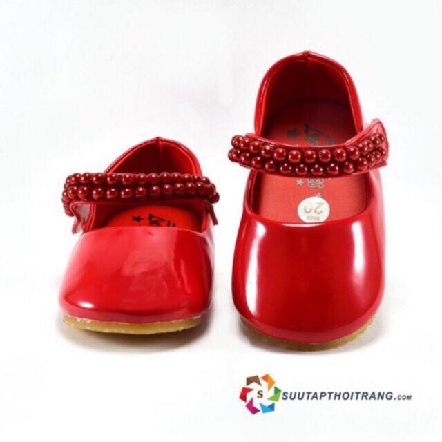 Giày bé gái búp bê đính cườm màu đỏ xinh