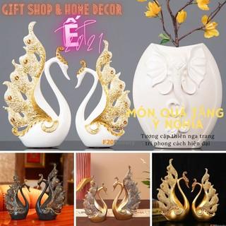 Tượng trang trí cặp đôi Thiên Nga Royal Swan màu Vàng, Xanh, Trắng bằng Composite – F20Beauty – Phong cách hiện đại
