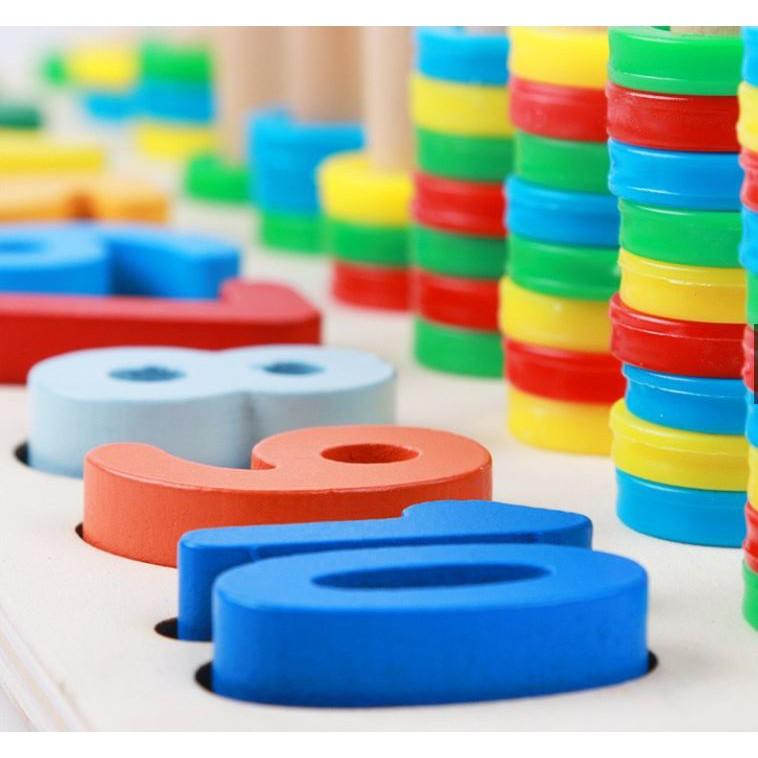 Đồ chơi gỗ - Bộ Cọc Toán - Hình khối - chữ số 3in1