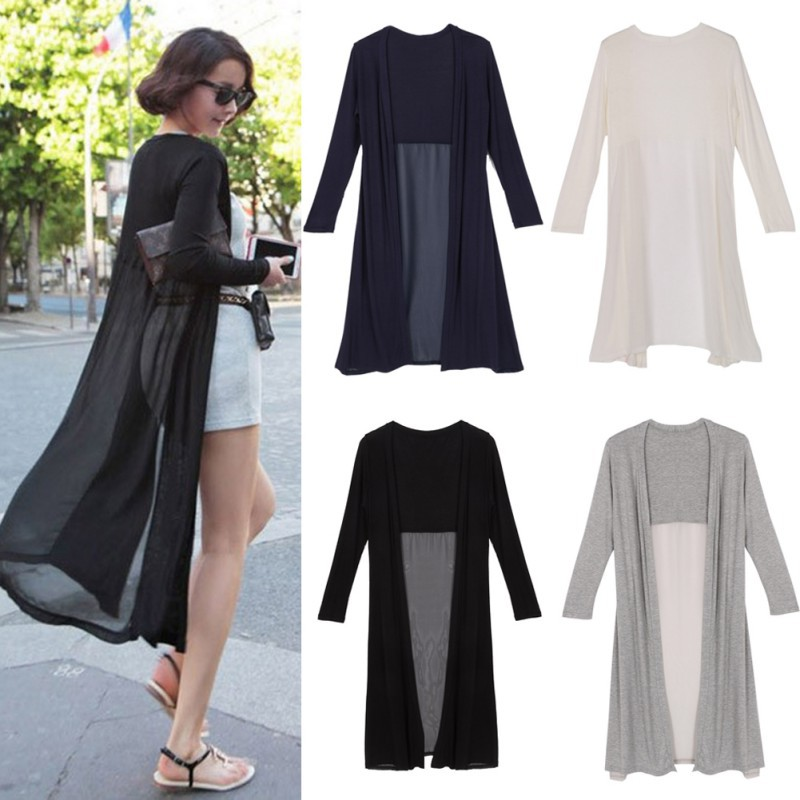 Áo khoác mỏng dáng dài họa tiết trơn thời trang cho nữ
