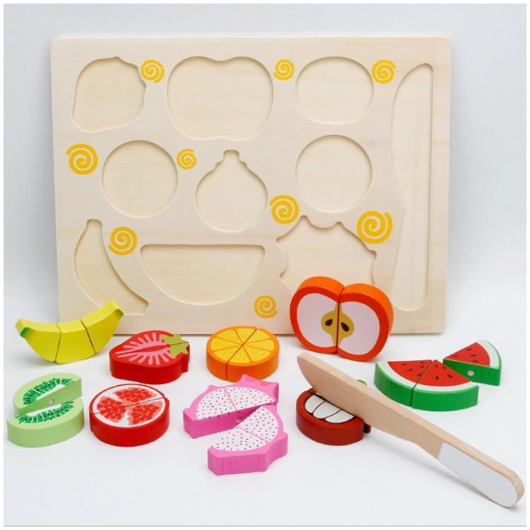Bộ cắt trái cây-rau củ gắn nam châm bằng gỗ_SmartKids