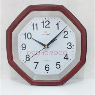 Đồng hồ treo tường bát giác KASHI K90 Kim trôi + tặng kèm pin PANASONIC