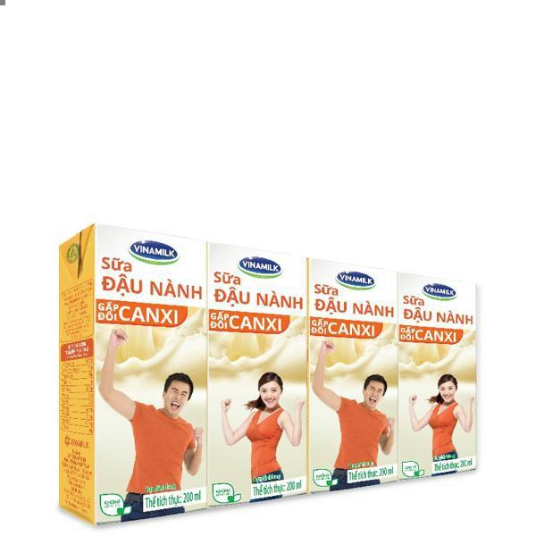 Sữa đậu nành Vinamilk Canxi có đường: Thùng 48 hộp 200ml