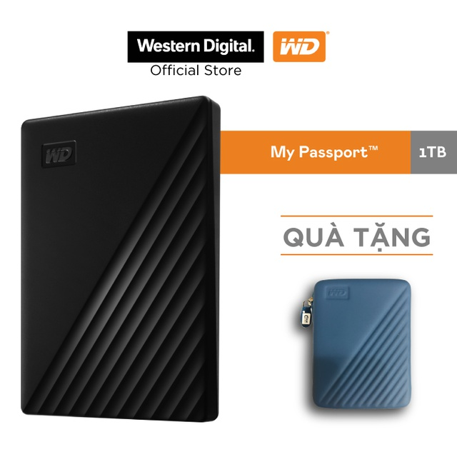 Ổ cứng WD My Passport 2.5 INCH( USB 3.2) 1TB Portable( Đen)-