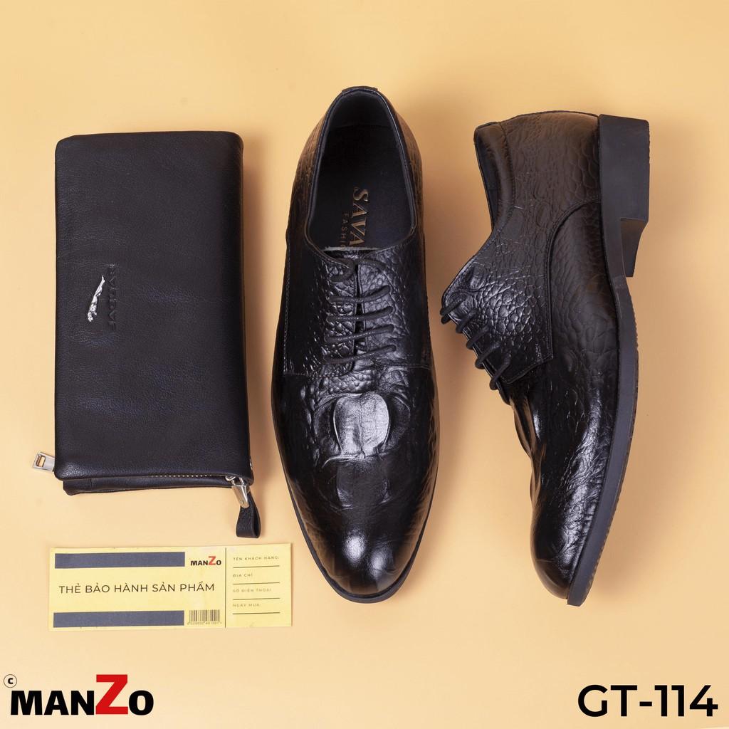 [FREE SHIP] Giày tây nam da bò dập vân cá sấu cao cấp GT114 Manzo