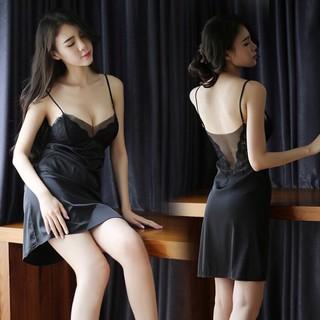[size M/L/XL48-65kg][kèm mút ngực] Váy ngủ sexy _ đầm ngủ sexy lụa phối lưới ren lưng trước sau 18VN115090