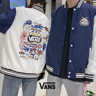 Vans Men's and Women's Contrast Color Stitching Coat Jacket Sports Warm Cotton Coat Lovers Baseball Uniform