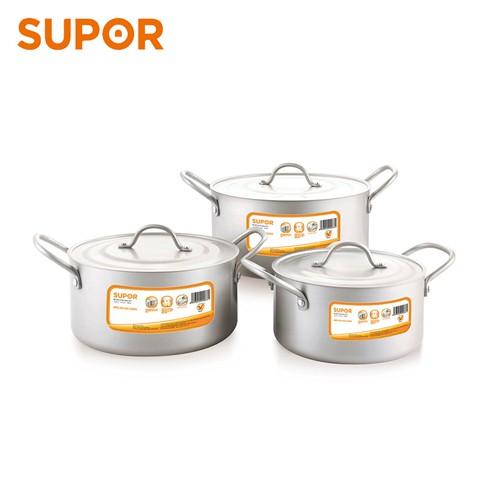 Bộ 3 nồi canh hợp kim nhôm oxy hóa mềm Healthy Supor TW08001 (Bạc)