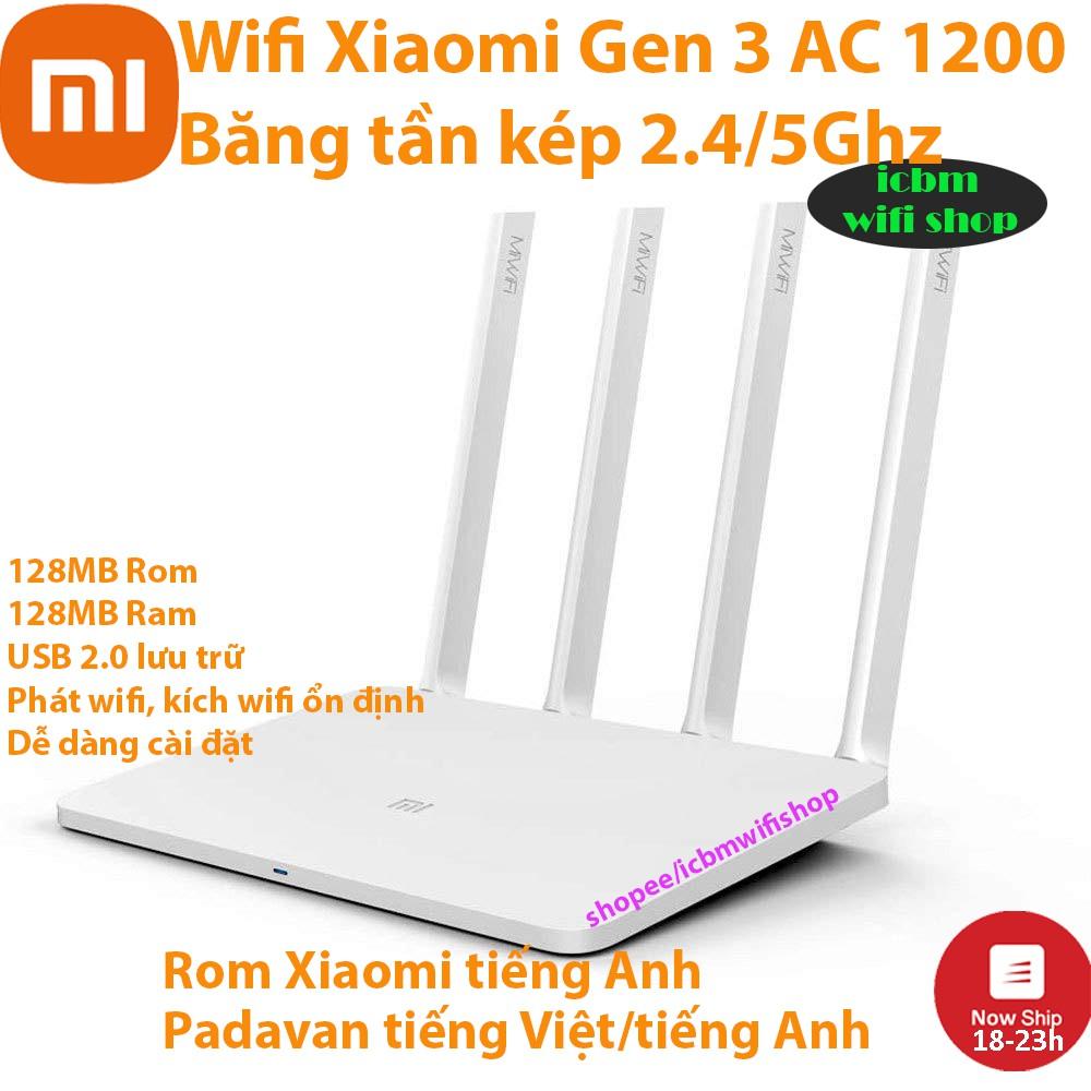 Bộ phát router wifi Xiaomi Gen 3 băng tần kép 5G & 2.4G giao diện tiếng Việt Padavan, rom Openwrt