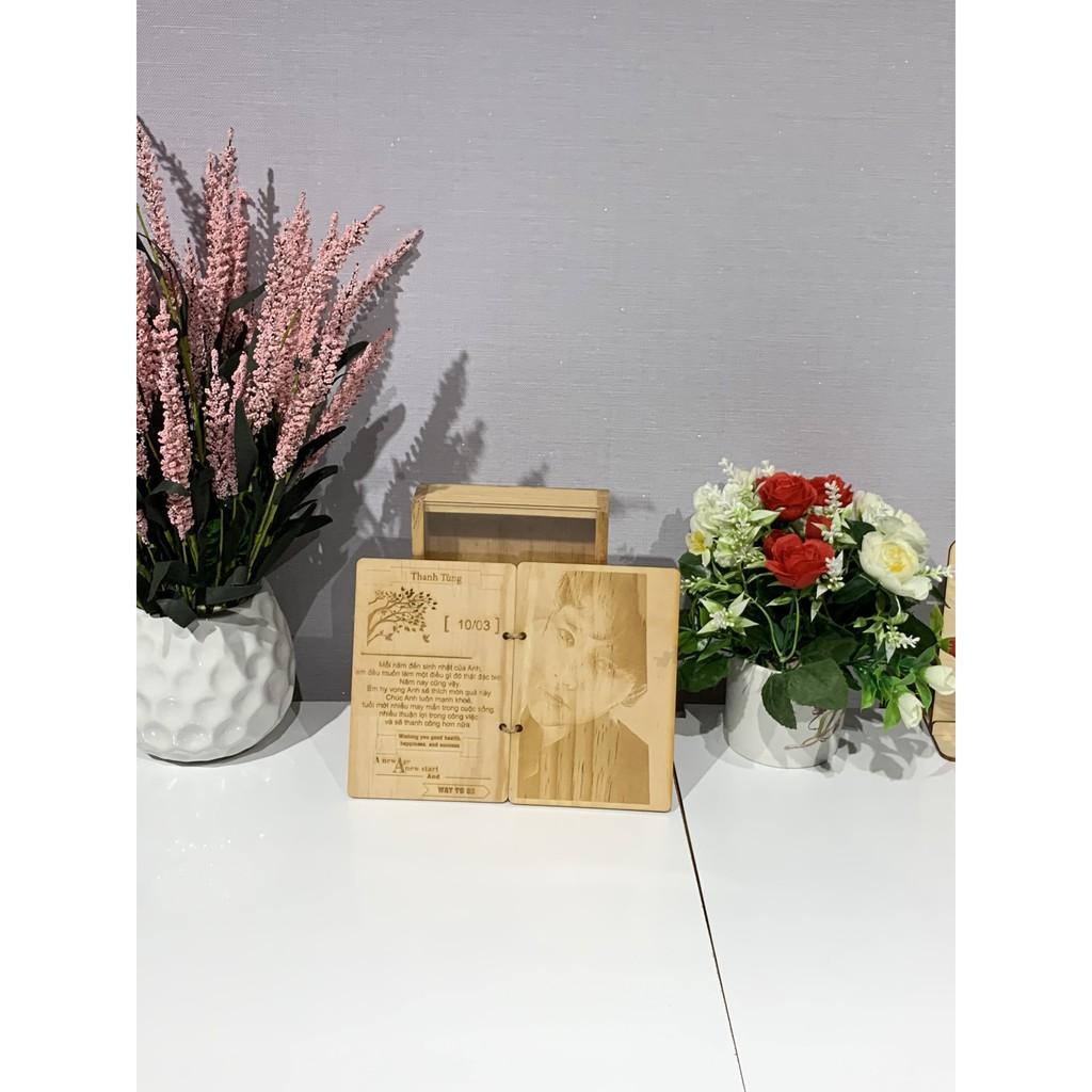 [Quà tặng] Thiệp gỗ khắc ảnh theo yêu cầu +  hộp đựng