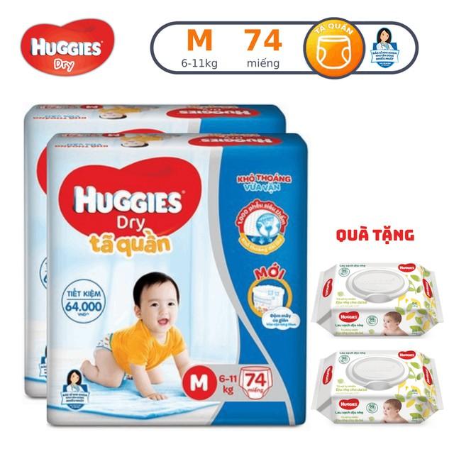 Combo 2 gói Tã quần HUGGIES SJB M74/L68/XL62/XXL56