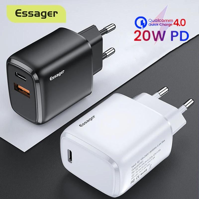 Củ sạc nhanh Essager cổng USB 20W PD3.0 QC3.0 Cho iPhone 12 Pr