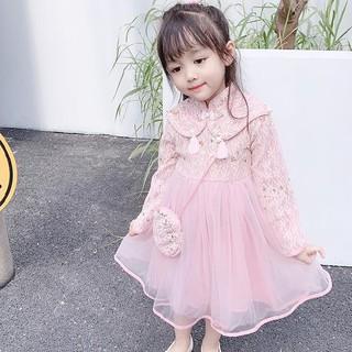 Đầm Dự Tiệc Phối Ren Hoa Phong Cách Trung Hoa Cho Bé Gái