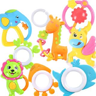 9PCS Baby Cute Rattle Tooth Gum Cartoon Colorful Molar Stick Training Tooth Toy