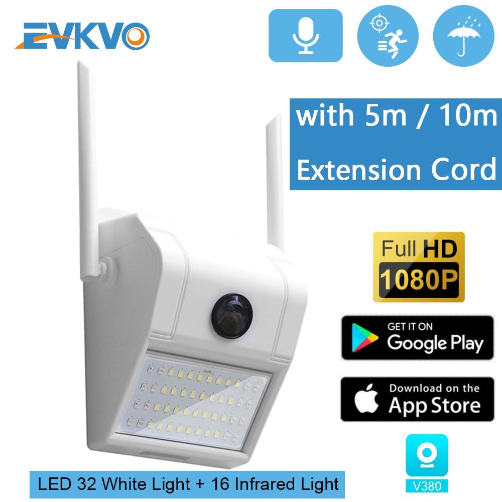 EVKVO - Camera IR 1080P WIFI IP CCTV + đèn trắng tầm nhìn ban đêm V380 cảm ứng thông minh HD âm thanh hai chiều chống nước