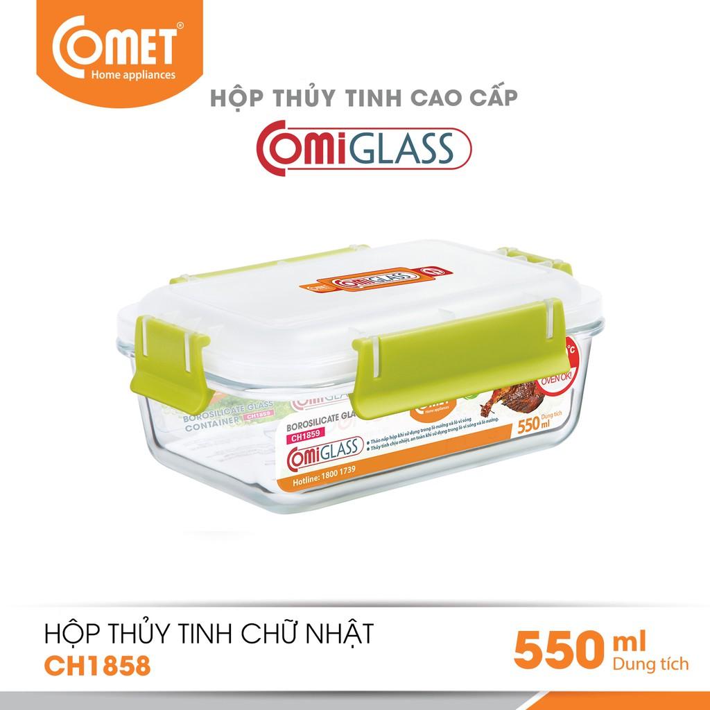Combo 3 hộp đựng thực phẩm thuỷ tinh Comet CH1858 - 550ml