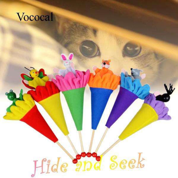 6 Pcs Hide And Seek Animal Toy Doll Rod to Baby Kids for Children's Day Gift Large Size