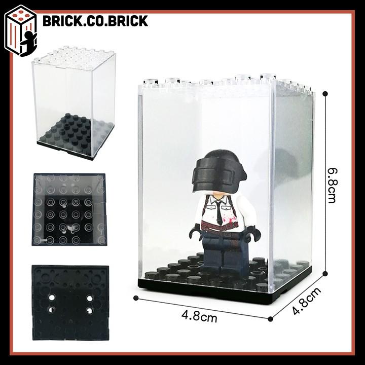 Hộp trưng bày - Hộp mica đựng non lego và mini- figures trong suốt đế đen, kính dày, loại nhỏ đựng 1 mini-fig
