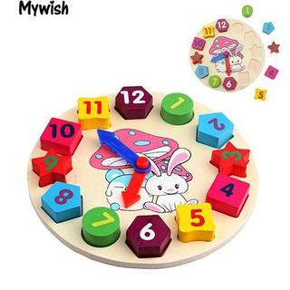 👶🏼Kid's Baby's Wooden Digital 12 Numbers Clock Blocks Intellectual Toy