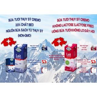 Sữa tươi Organic CREMO – Thuỵ Sĩ – 1Lit Fullcream(Thùng 12 hộp)