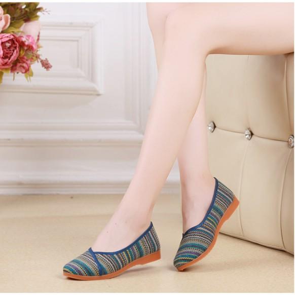 Giày búp bê nữ, giày mọi nữ vải siêu xinh đi êm chân cao 2.5cm V226